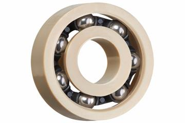 xiros® radial deep groove ball bearing, xirodur A500, stainless steel balls, cage made of PA, mm