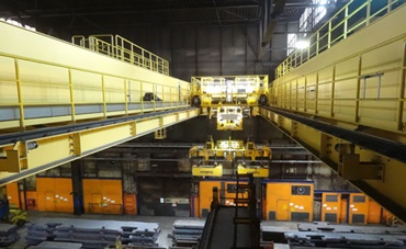 Energy supply at the slab transport crane in Thyssen Krupp's hot rolling mill
